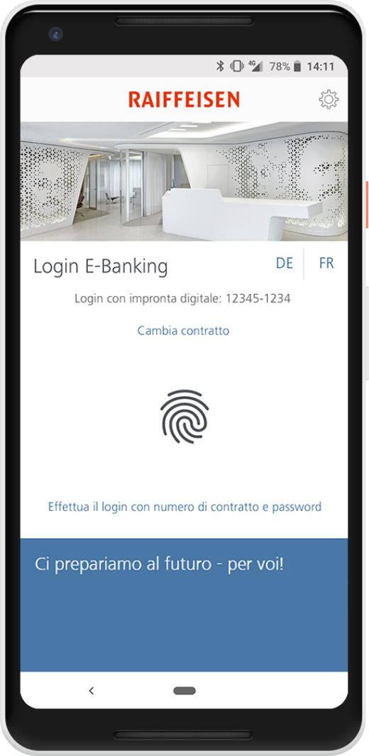 Login con impronta digitale