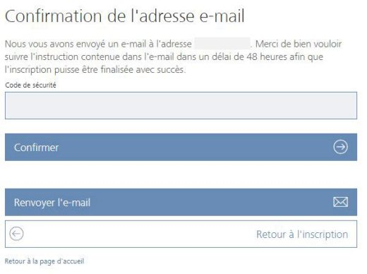 Confirmation de l'adresse e-mail